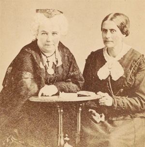 Photographic visiting card of Elizabeth Cady Stanton and Susan B. Anthony